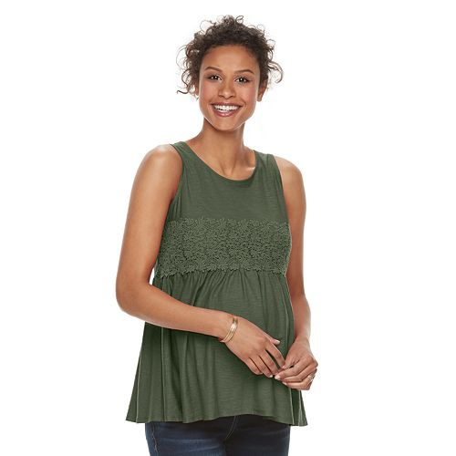 Maternity a:glow Crochet-Trim Tank