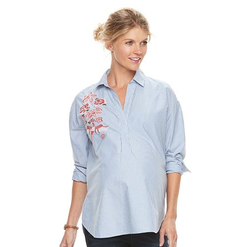 370b51e960202 Maternity a:glow Embroidered Shirt