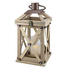 Stonebriar Collection Rustic Wood Lantern Pillar Candle Holder
