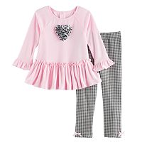 Toddler Girl Marmellata Classics Ruffle Top & Gingham Leggings Set