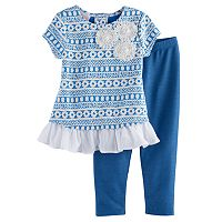 Toddler Girl Marmellata Classics Textured Floral Tunic & Leggings Set