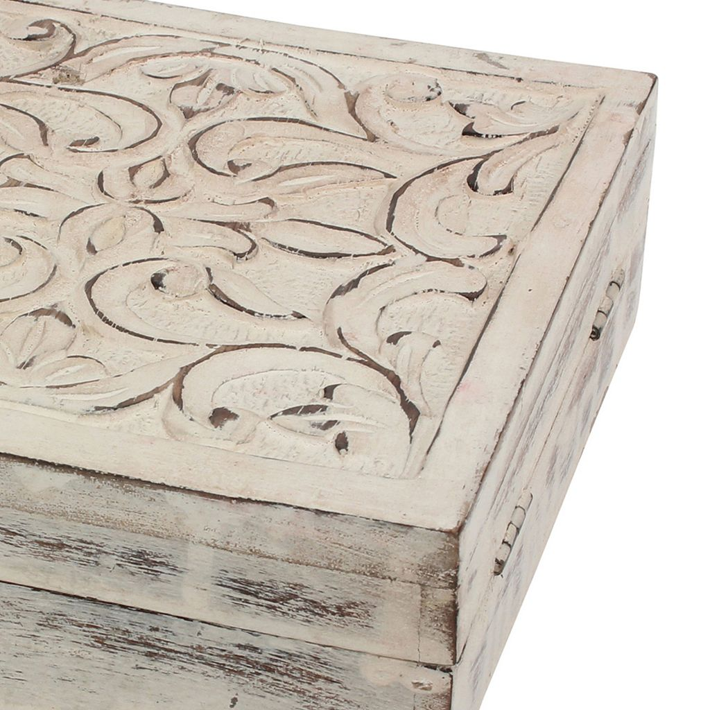 Stonebriar Collection Filigree Wood Box Table Decor