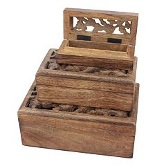 Stonebriar Collection Carved Wood Box Table Decor 3 pc Set