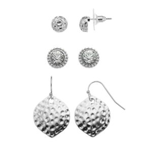 Nickel Free Hammered & Simulated Crystal Earring Set
