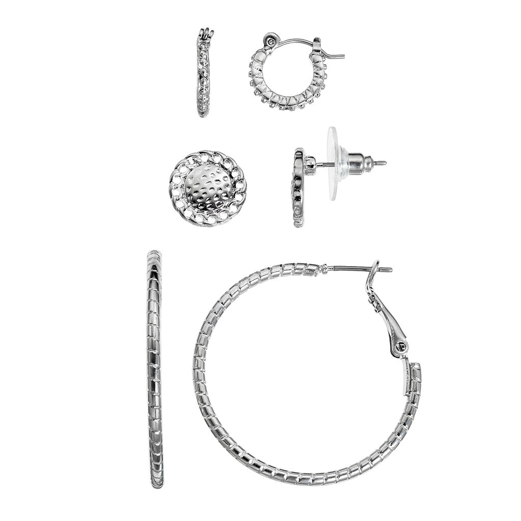 Nickel Free Beaded, Twisted & Hammered Earring Set