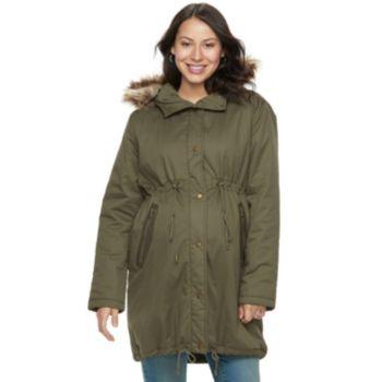 Maternity a glow Faux-Fur Hood Anorak Jacket
