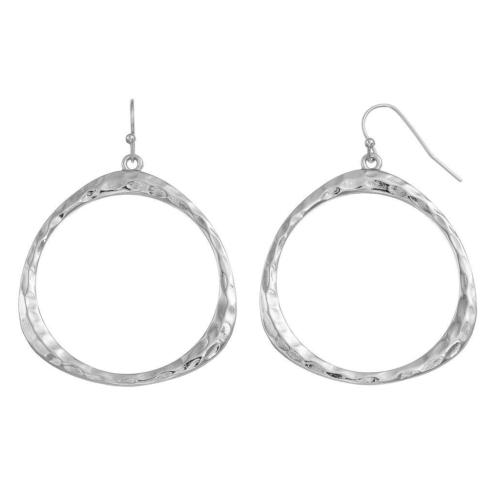 Nickel Free Hammered Drop Hoop Earrings