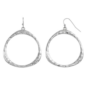 Nickel Free Hammered Drop Hoop Earrings