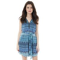 Juniors' IZ Byer California Print Zipper Neck Dress