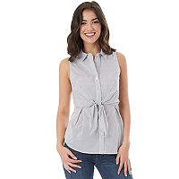 Juniors' IZ Byer California Sleeveless Tie Front Poplin Shirt
