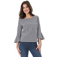 Juniors' IZ Byer California Poplin Bell Sleeve Top
