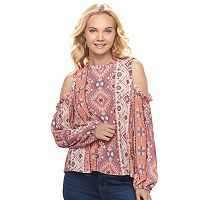 Juniors' Mason & Belle Print Cold Shoulder Top