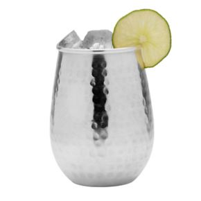 Mikasa Hammered Silver-Plated Stemless Goblet Glass