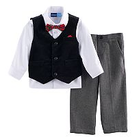 Toddler Boy Great Guy Velvet Vest, Button Down Shirt & Herringbone Pants Set with Bow Tie