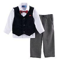 Toddler Boy Great Guy Velvet Vest, Button Down Shirt & Herringbone Pants Set with Bow Tie