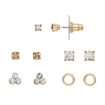 LC Lauren Conrad Nickel Free Circle & Cluster Stud Earring Set