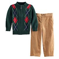 Toddler Boy Great Guy Argyle 1/2-Zip Sweater & Corduroy Pants Set