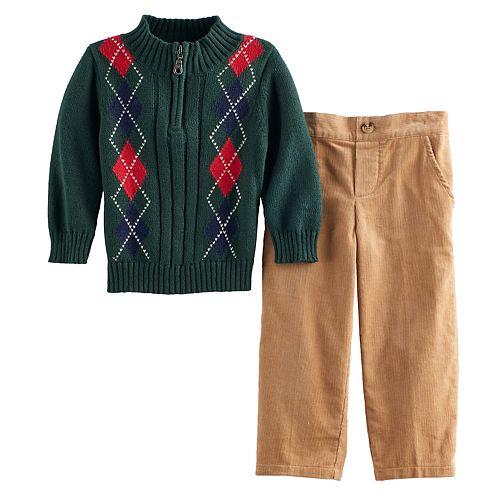Toddler Boy Great Guy Argyle 1/2-Zip Sweater & Corduroy Pants Set