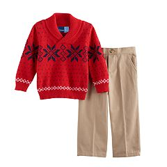 Toddler Boy Great Guy Snowflake Shawl Pullover Sweater & Khaki Pants Set