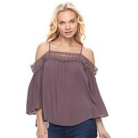 Juniors' Mason & Belle Crochet Off-the-Shoulder Top