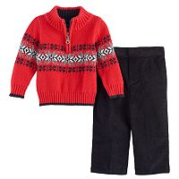 Toddler Boy Great Guy Snowflake 1/2-Zip Sweater & Corduroy Pants Set