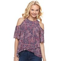 Juniors' Mason & Belle Paisley Tulip Hem Cold-Shoulder Top
