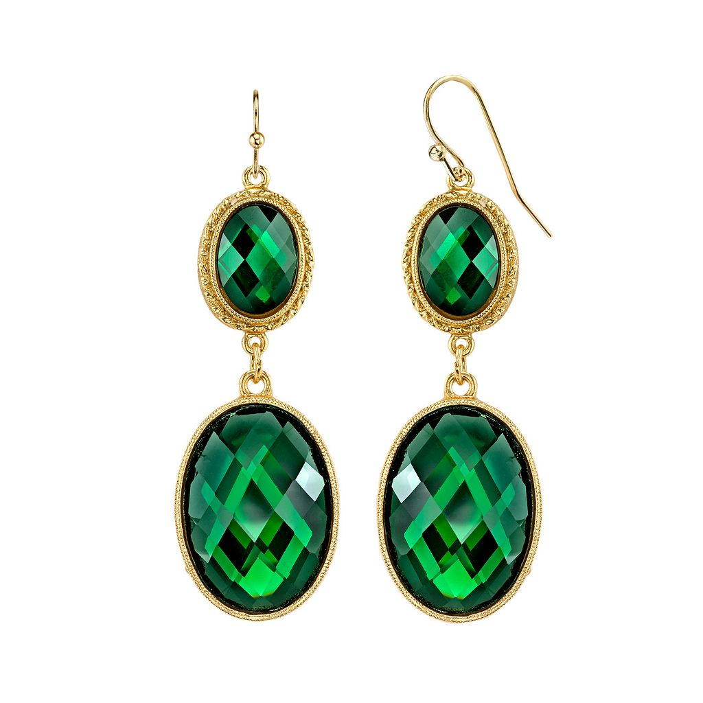1928 Green Faceted Double Oval Drop Earrings