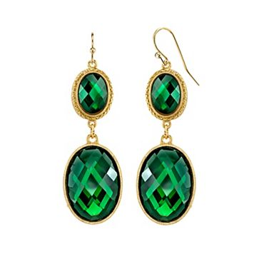 1928 Green Faceted Double Oval Drop Earrings