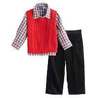 Toddler Boy Great Guy Cable Knit Sweater Vest, Plaid Shirt & Corduroy Pants Set