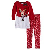 Girls 4-6x Blueberi Boulevard Light Up Reindeer Sweater Dress & Legging Set