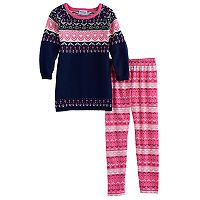 Girls 4-6x Blueberi Boulevard Fairisle Knit Sweater Dress & Leggings Set