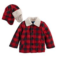 Toddler Boy Great Guy Buffalo Plaid & Sherpa Heavyweight Jacket & Trapper Hat Set