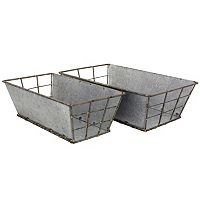 Stonebriar Collection Galvanized Metal Basket 2 pc Set