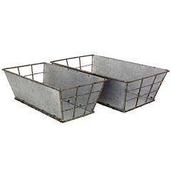 Stonebriar Collection Galvanized Metal Basket 2-piece Set