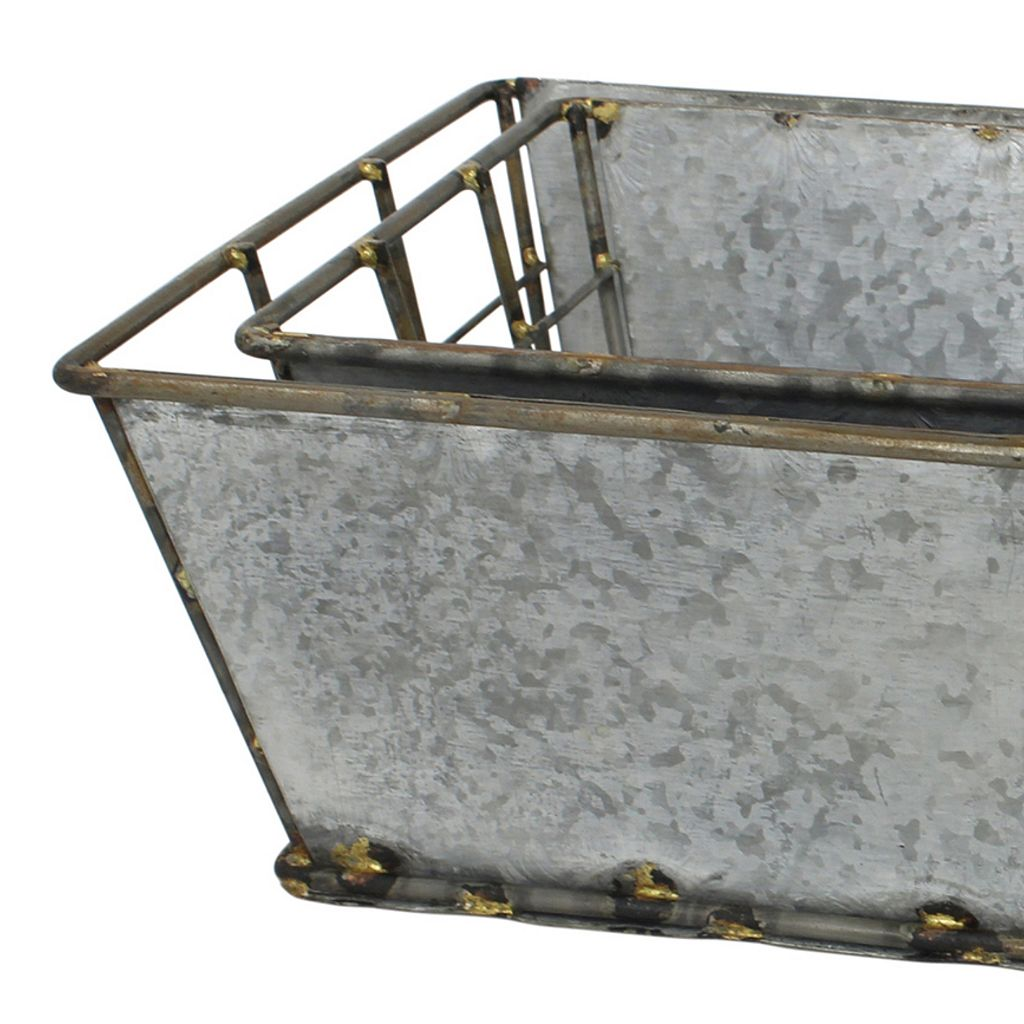 Stonebriar Collection Galvanized Metal Basket 2-piece Set