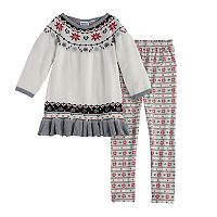 Girls 4-6X Blueberi Boulevard Snowflake Sweater Set