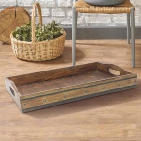 Stonebriar Collection Decorative Wood Tray Table Decor