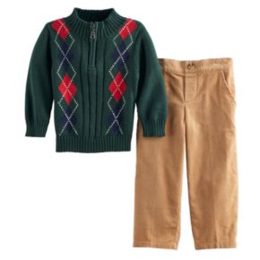 Baby Boy Great Guy Argyle 1/2-Zip Sweater & Corduroy Pants Set