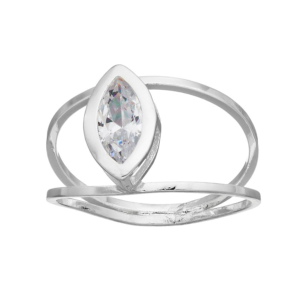 LC Lauren Conrad Cubic Zirconia Marquise Double Band Ring