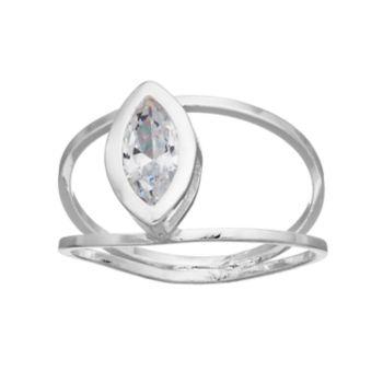 LC Lauren Conrad Cubic Zirconia Marquise Double Band Ring
