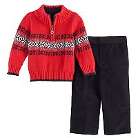 Baby Boy Great Guy Snowflake 1/2-Zip Sweater & Corduroy Pants Set