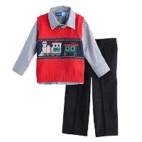 Baby Boy Great Guy Train Sweater Vest, Plaid Shirt & Corduroy Pants Set