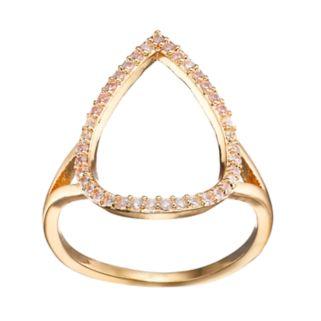 LC Lauren Conrad Cubic Zirconia Open Teardrop Ring