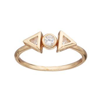 LC Lauren Conrad Cubic Zirconia Geometric 3-Stone Ring