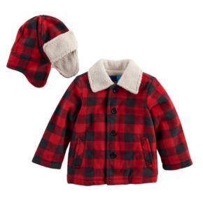 Baby Boy Great Guy Buffalo Plaid & Sherpa Heavyweight Jacket & Trapper Hat Set