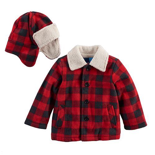 Baby Boy Great Guy Buffalo Plaid   Sherpa Heavyweight Jacket   Trapper Hat  Set 48d248aacff