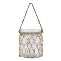 Stonebriar Collection Coastal Hanging Glass Jar Decor