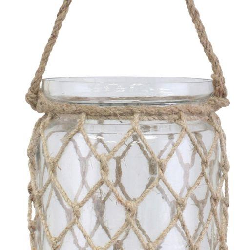 Stonebriar Collection Coastal Hanging Glass Jar Decor