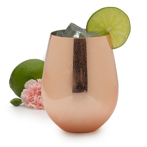 Towle Living Copper-Plated Stemless Wine Glass