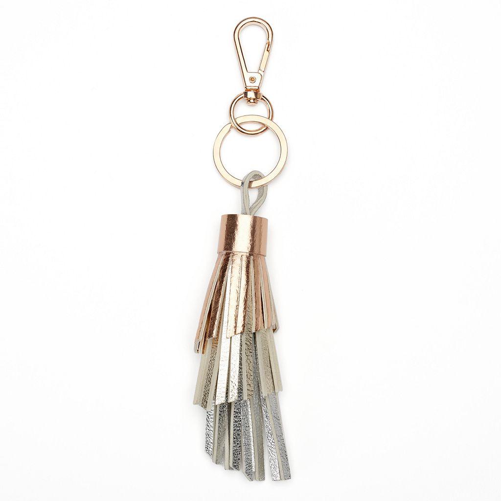 LC Lauren Conrad Metallic Ombre Tiered Tassel Key Chain